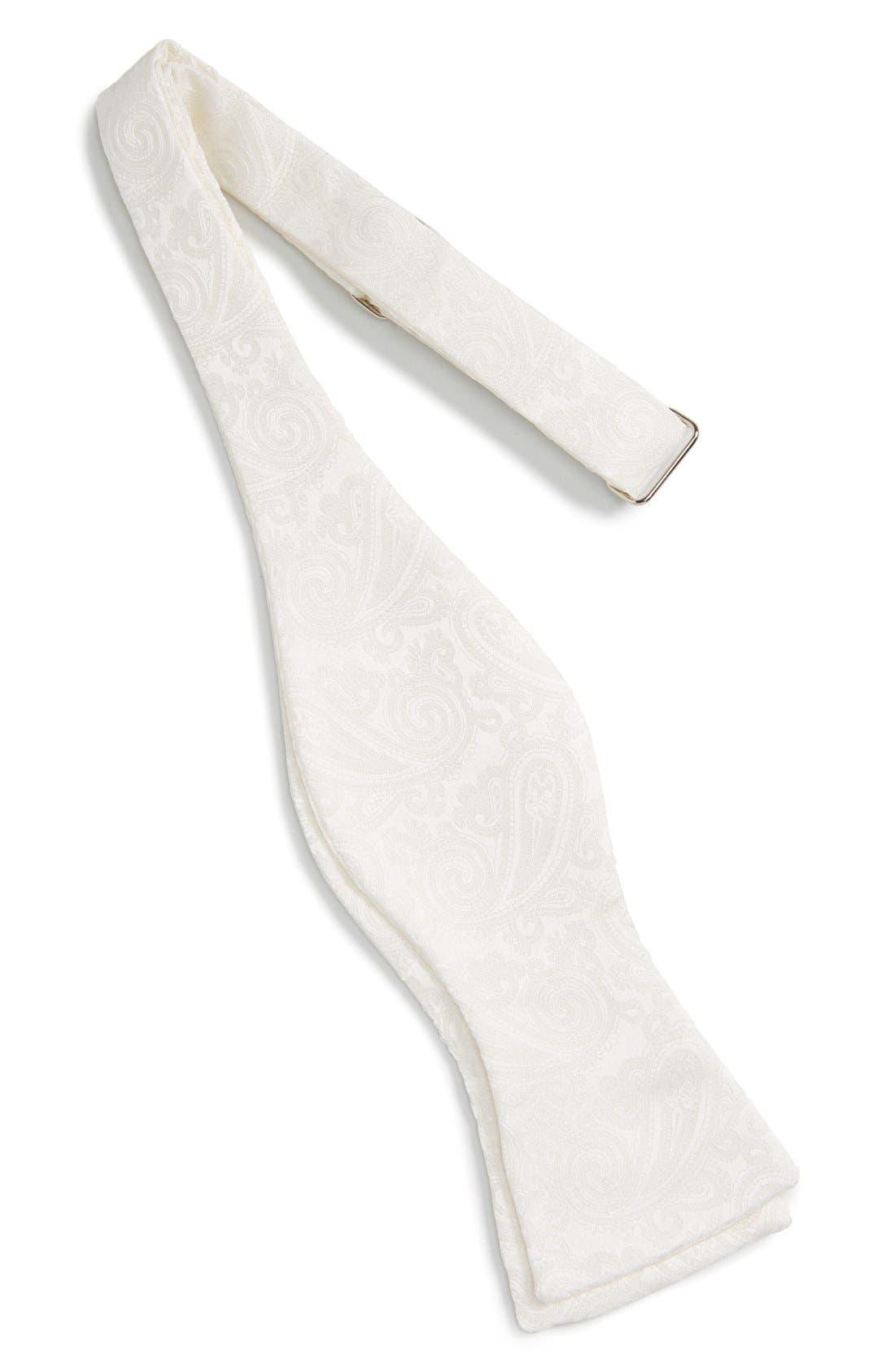 Paisley Silk Bow Tie,                             Alternate thumbnail 2, color,                             White