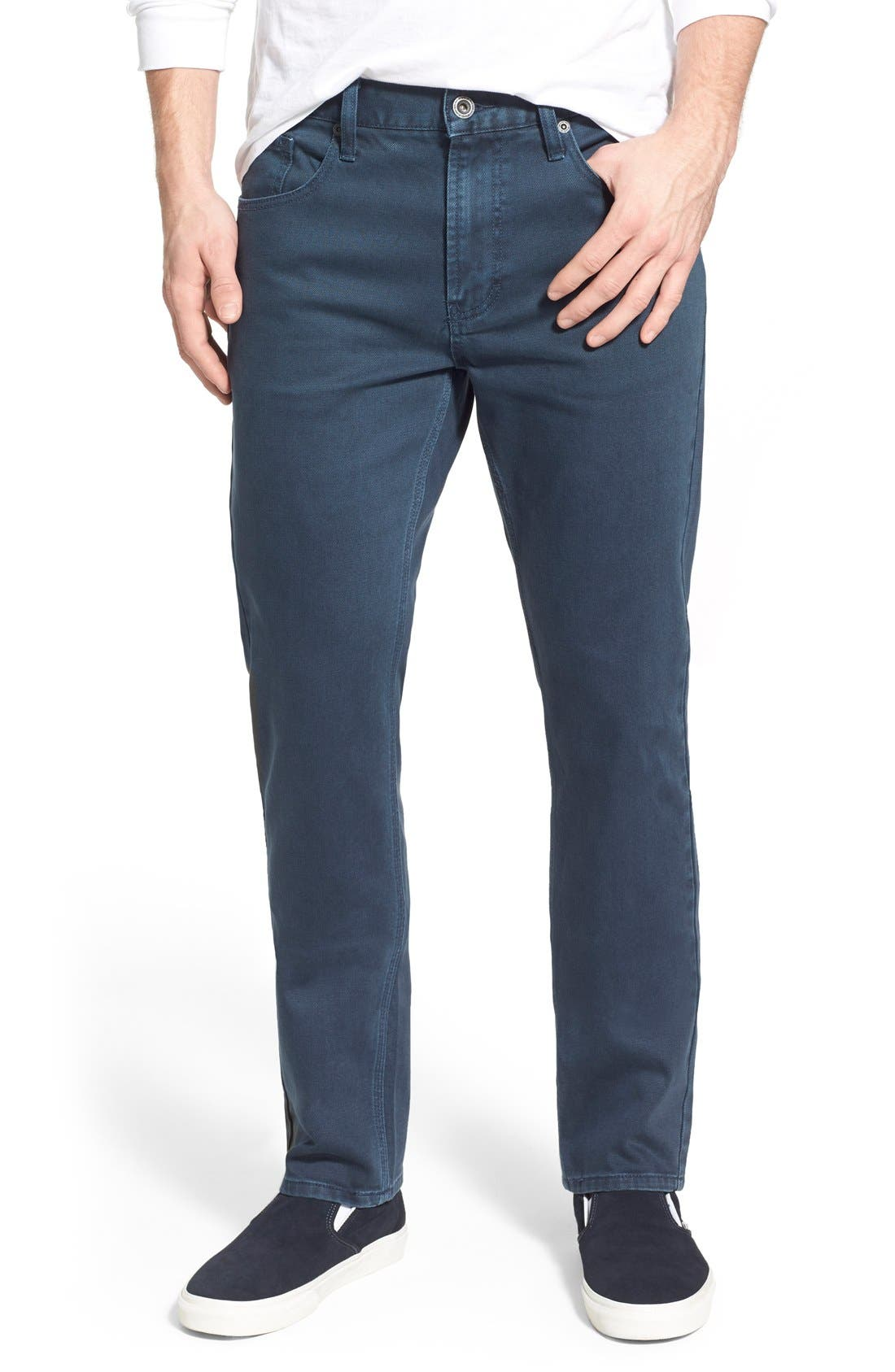 Alternate Image 1 Selected - RVCA 'Daggers' Slim Fit Jeans (Army Drab)