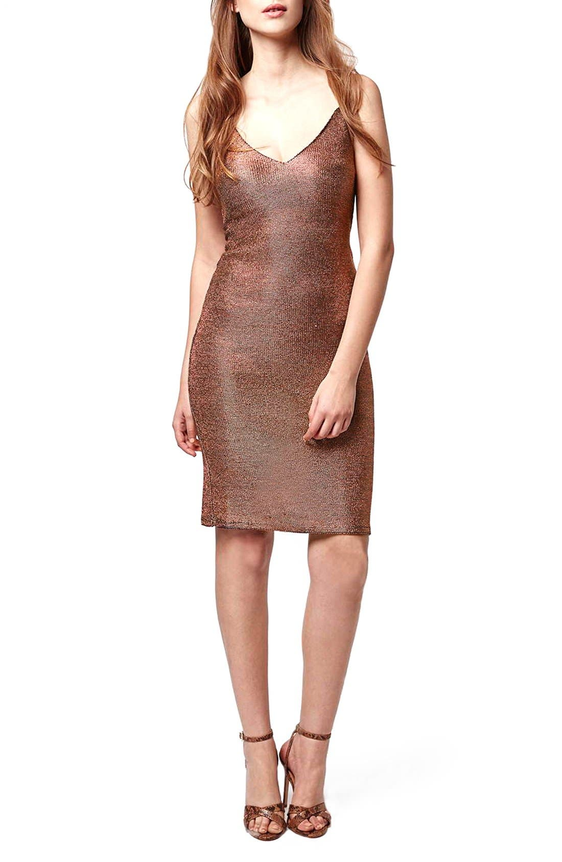 Main Image - Topshop Strappy Chainmail Body-Con Dress