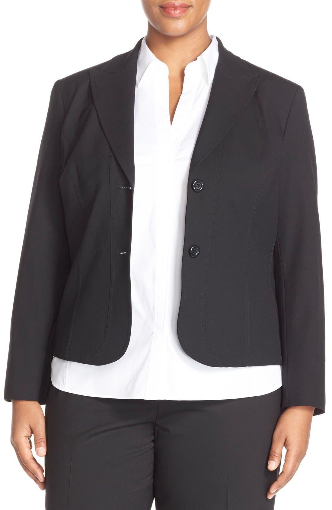 'Gladstone' Stretch Wool Jacket,                             Main thumbnail 1, color,                             Black