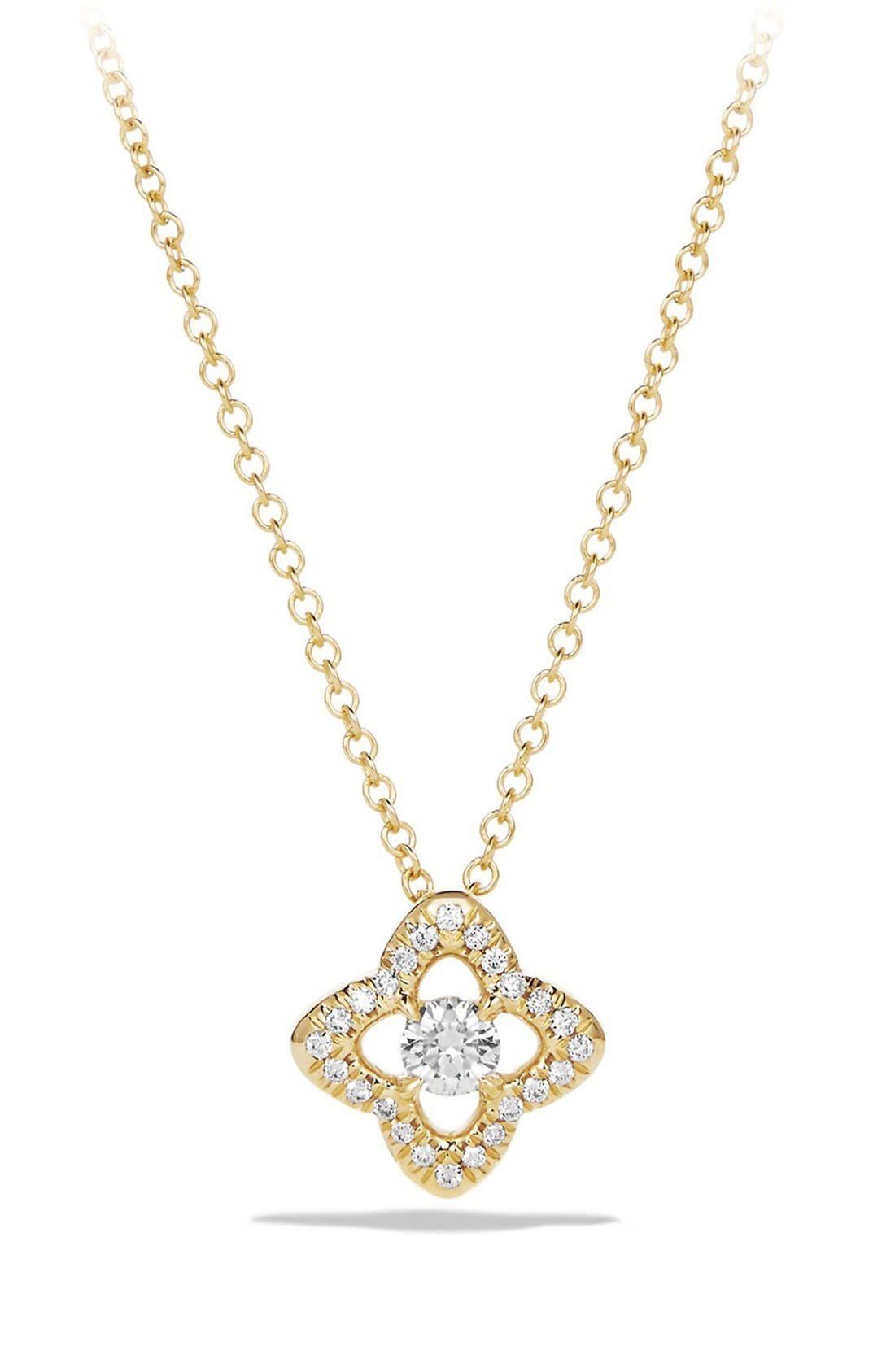 Alternate Image 1 Selected - David Yurman 'Venetian Quatrefoil' Necklace with Diamonds in Gold