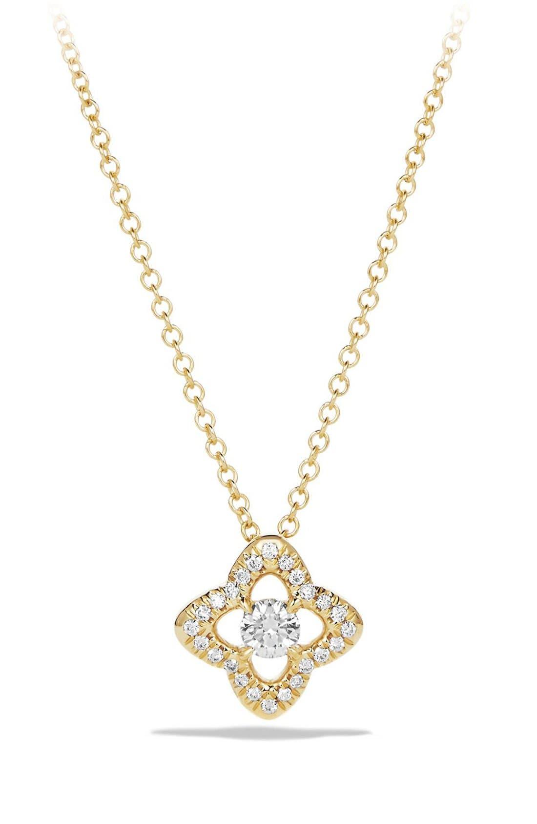 David Yurman 'Venetian Quatrefoil' Necklace with Diamonds in Gold