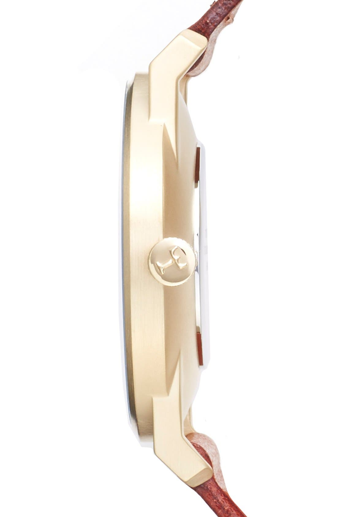 Klinga Organic Leather Strap Watch, 38mm,                             Alternate thumbnail 3, color,                             Cognac/ White