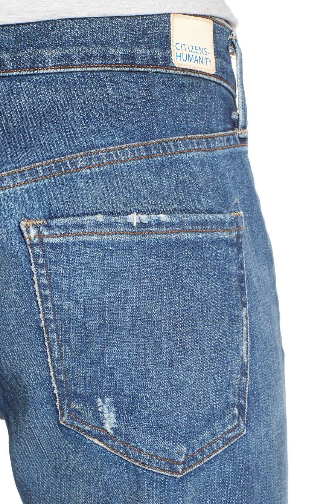 'Emerson Long' Slim Boyfriend Jeans,                             Alternate thumbnail 4, color,                             Blue Mountain