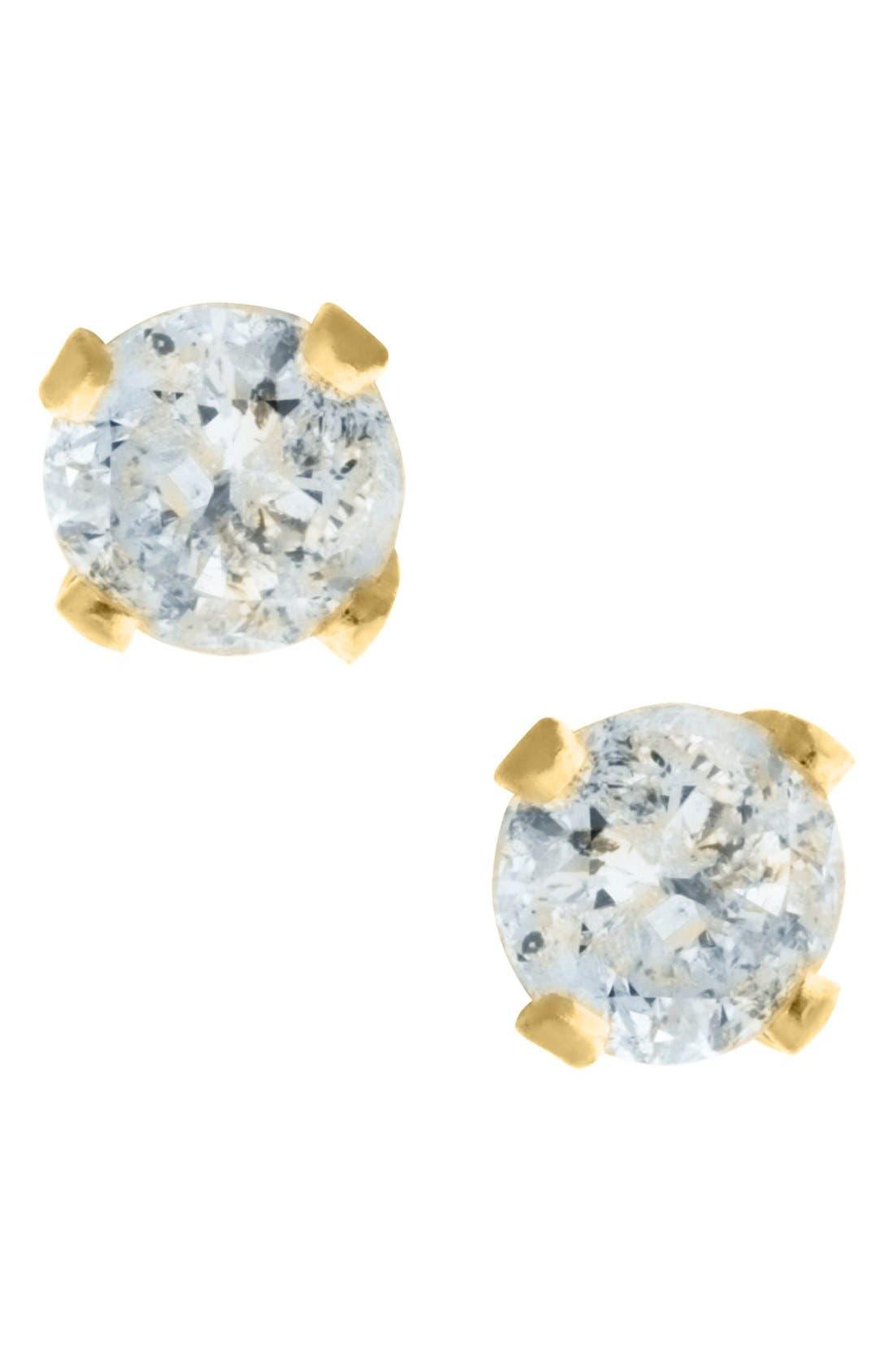 Alternate Image 1 Selected - Mignonette 14k Yellow Gold & Diamond Stud Earrings (Baby Girls)