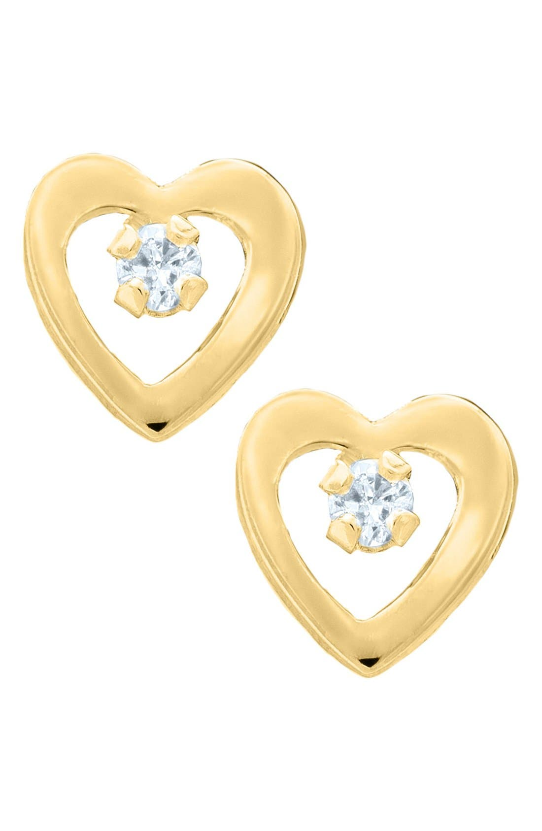 Main Image - Mignonette 14k Yellow Gold & Diamond Open Heart Earrings (Baby Girls)