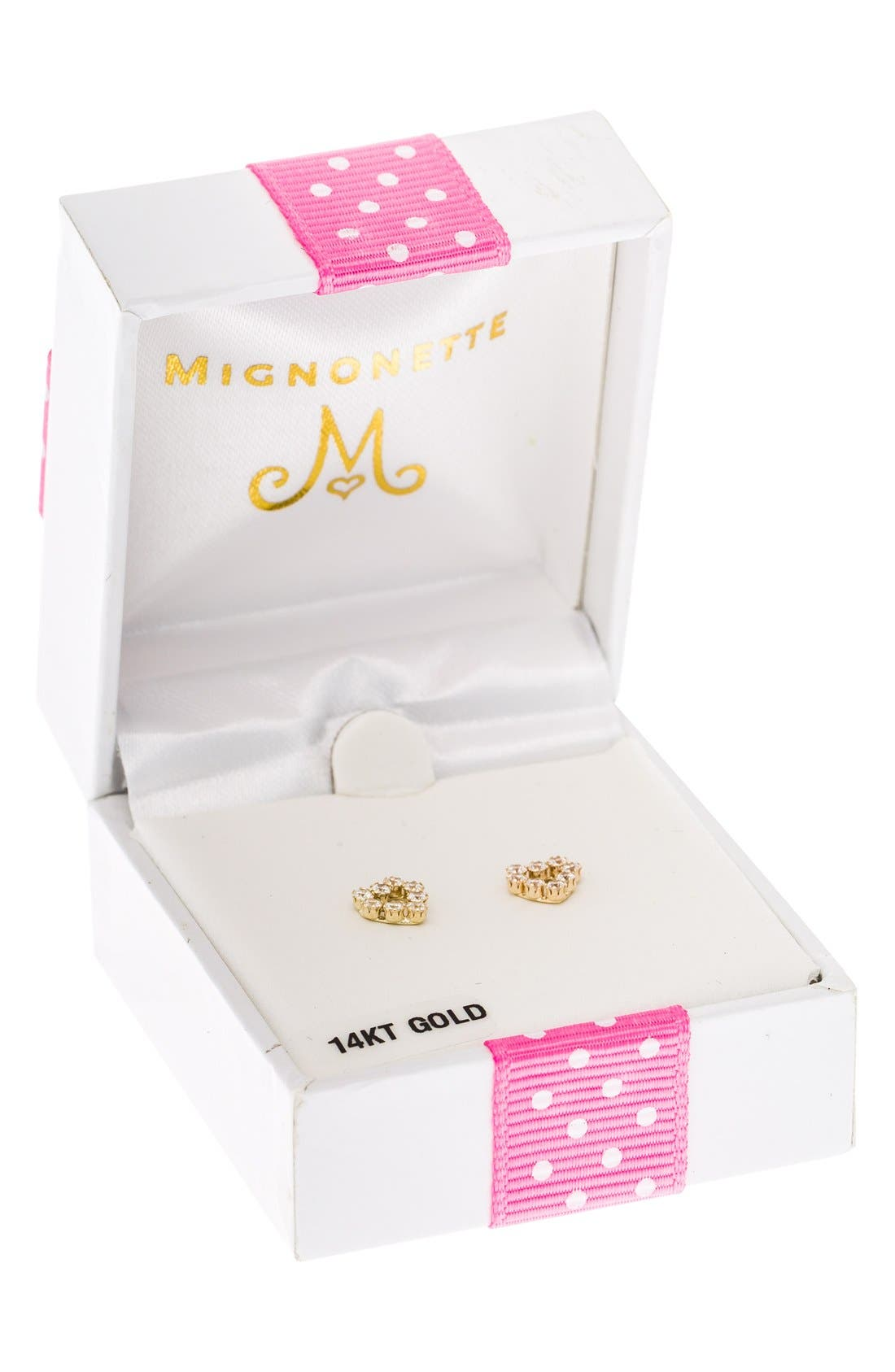 Alternate Image 3  - Mignonette 14k Gold & Cubic Zirconia Heart Earrings (Baby Girls)