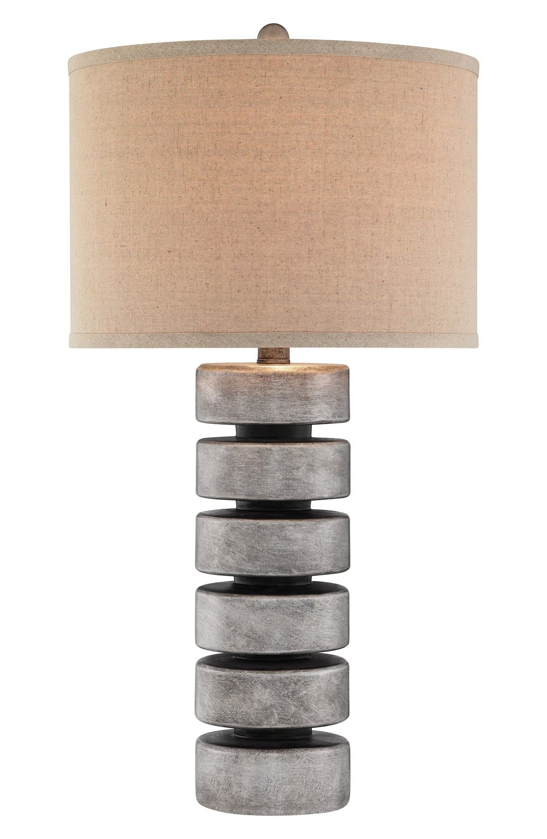 'Stacked Disc' Table Lamp,                         Main,                         color, Antique Pewter