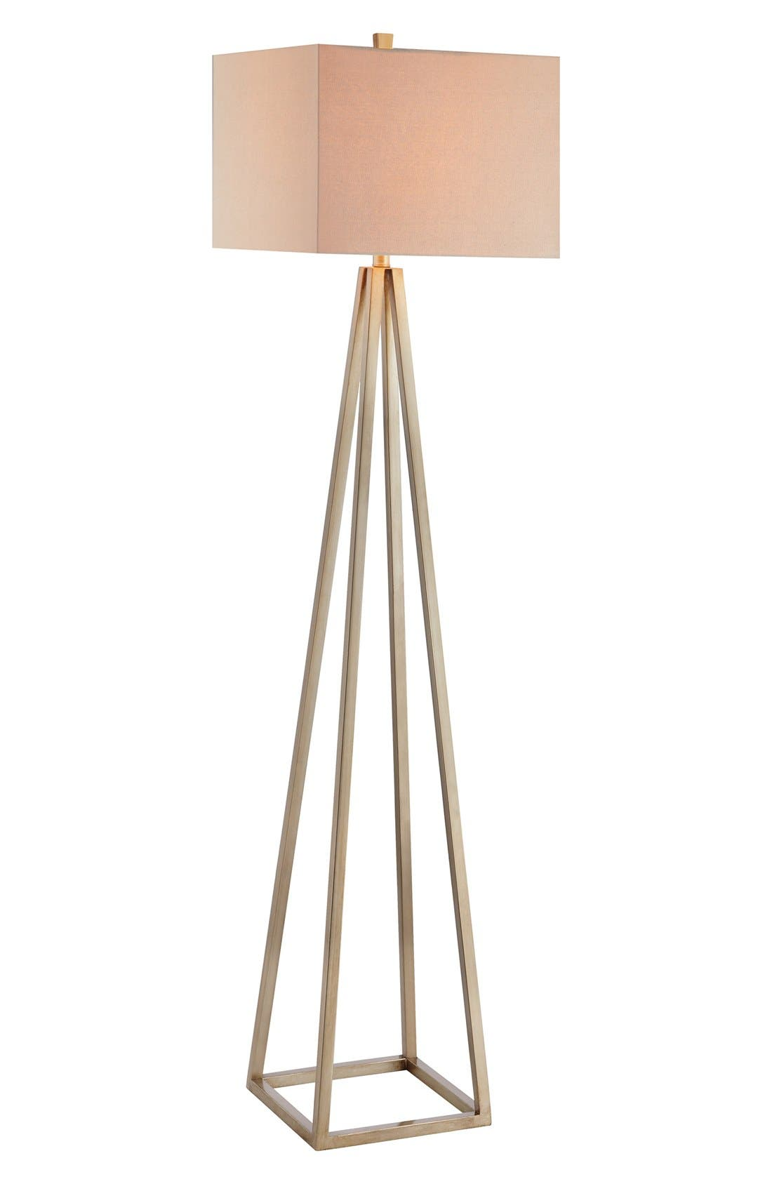 Open Caged Metal Floor Lamp,                             Main thumbnail 1, color,                             Gold