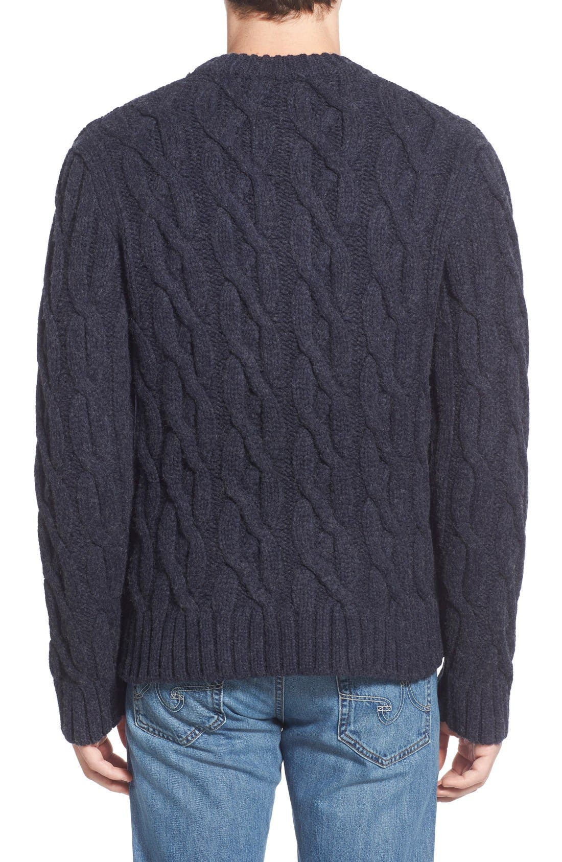 Regular Fit Cable Knit Crewneck Wool Blend Sweater,                             Alternate thumbnail 2, color,                             Navy