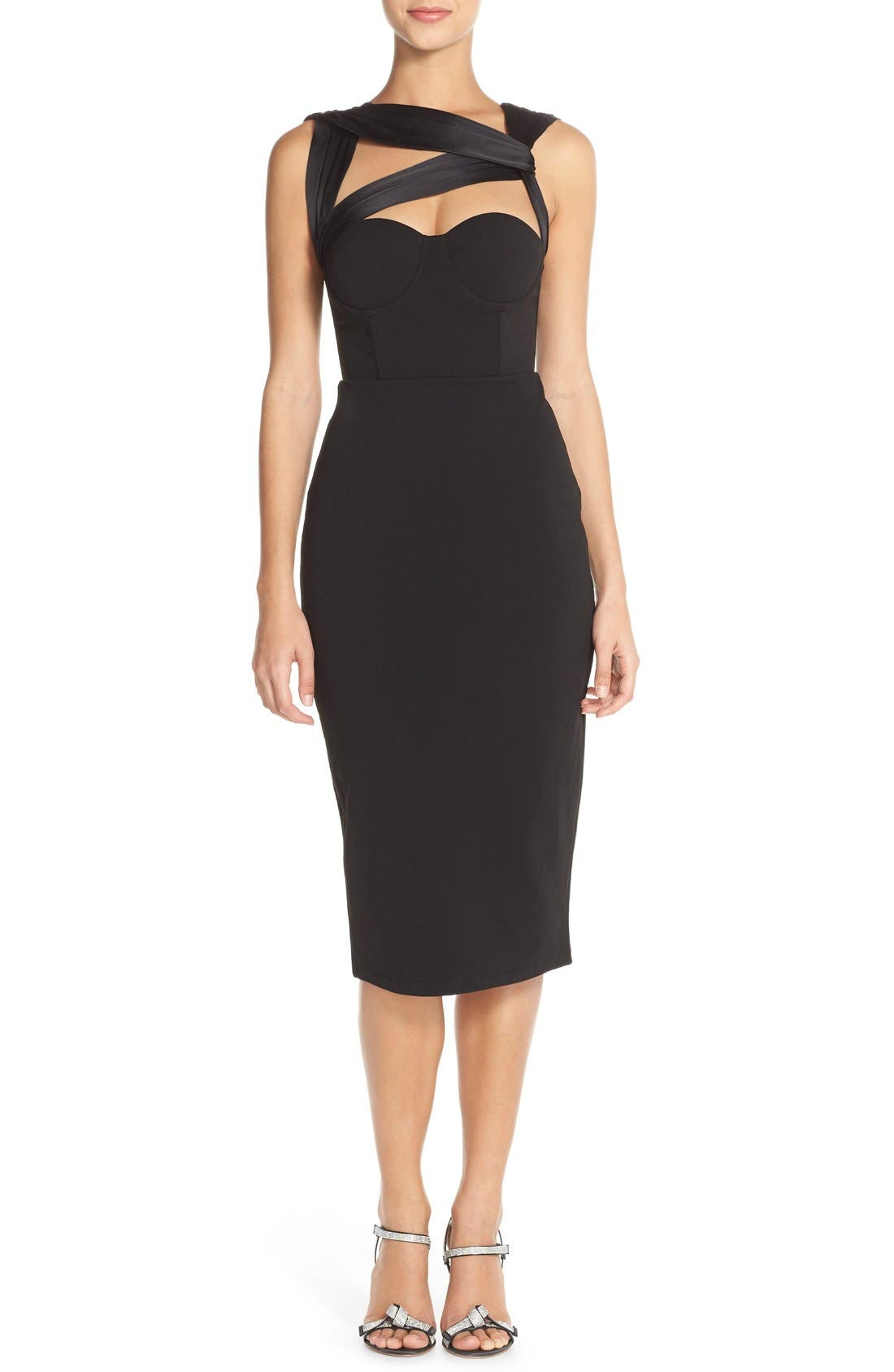 Main Image - Misha Collection 'Taline' Jersey & Silk Sheath Dress