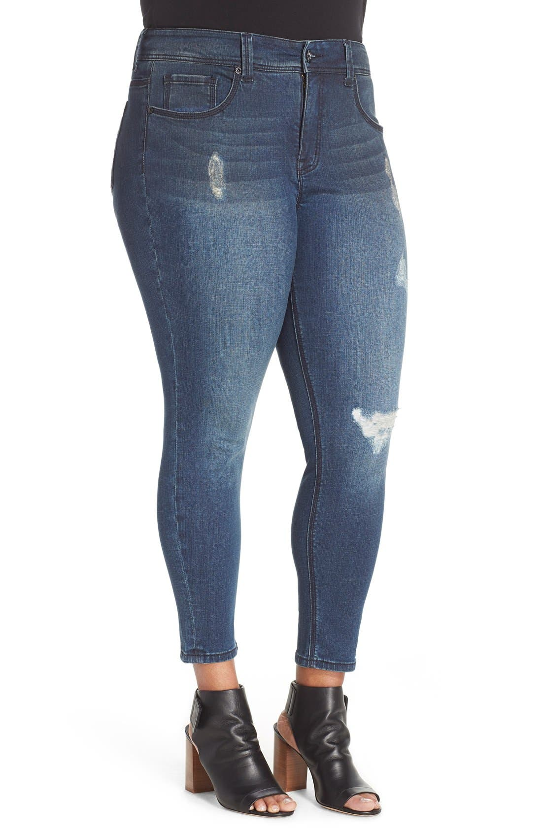 Distressed Pencil Leg Jeans,                             Alternate thumbnail 3, color,                             Rebel