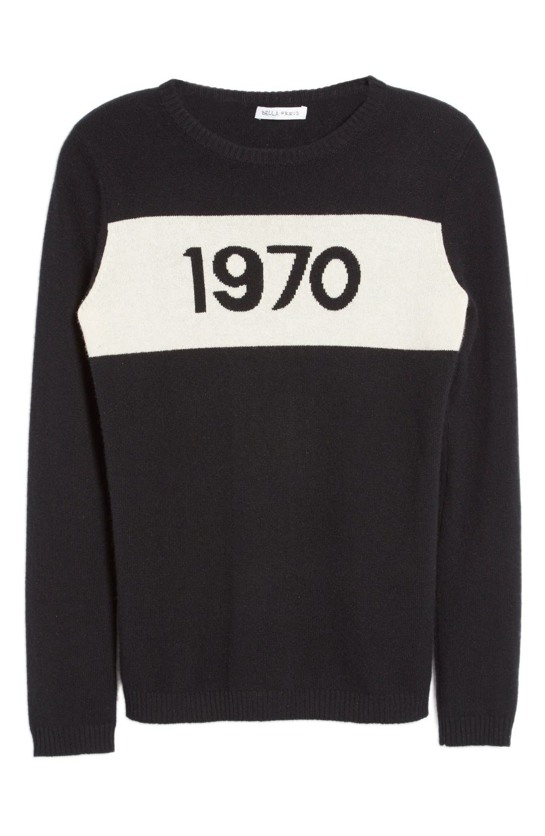 '1970' Wool Sweater,                             Alternate thumbnail 4, color,                             Black