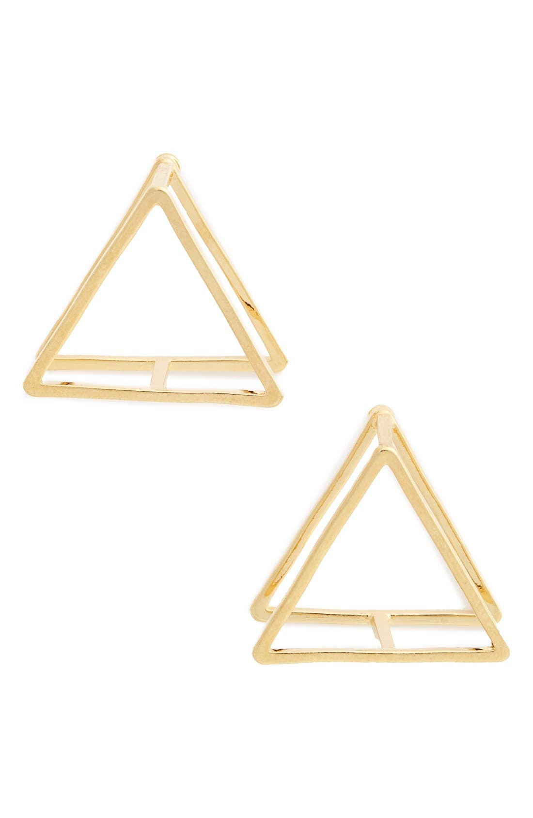 3D Triangle Stud Earrings,                         Main,                         color, Gold