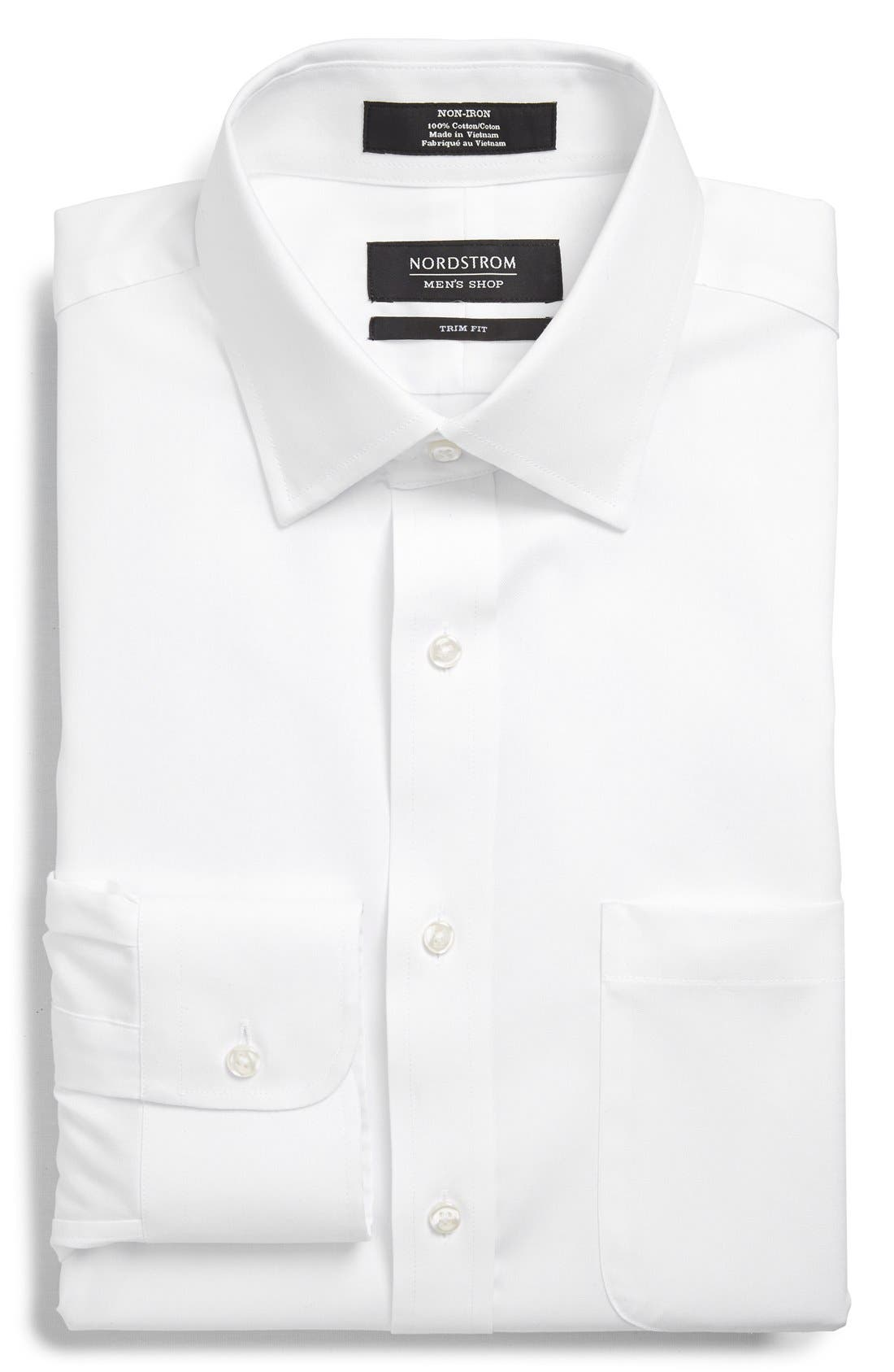 Nordstrom Men's Shop Trim Fit Non-Iron Solid Dress Shirt