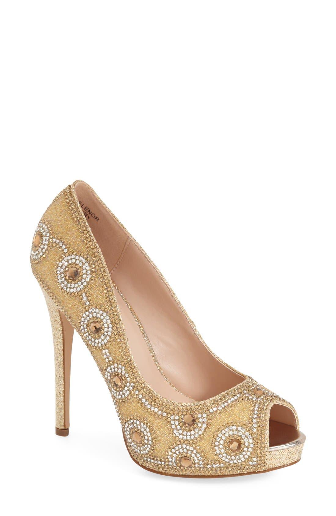 Main Image - Lauren Lorraine 'Elenor' Crystal Embellished Peep Toe Pump (Women)