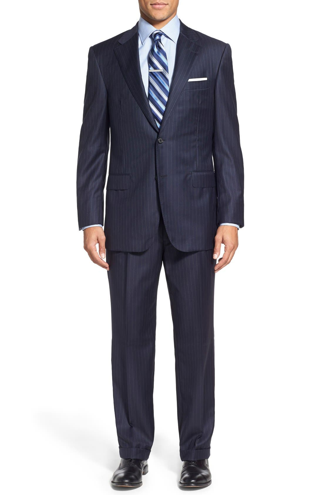 Main Image - Hickey Freeman 'Beacon - B Series' Classic Fit Stripe Wool Suit