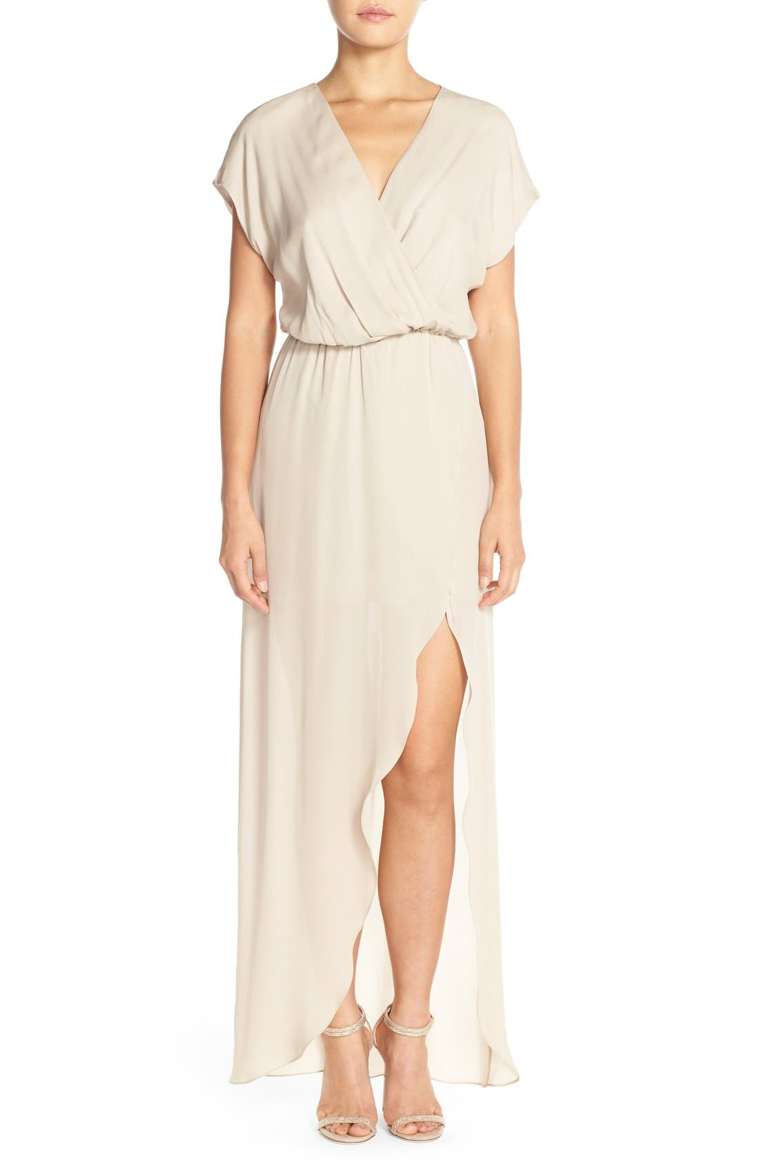 'Plaza' Faux Wrap Silk Georgette Cutaway Gown,                             Main thumbnail 1, color,                             Nude