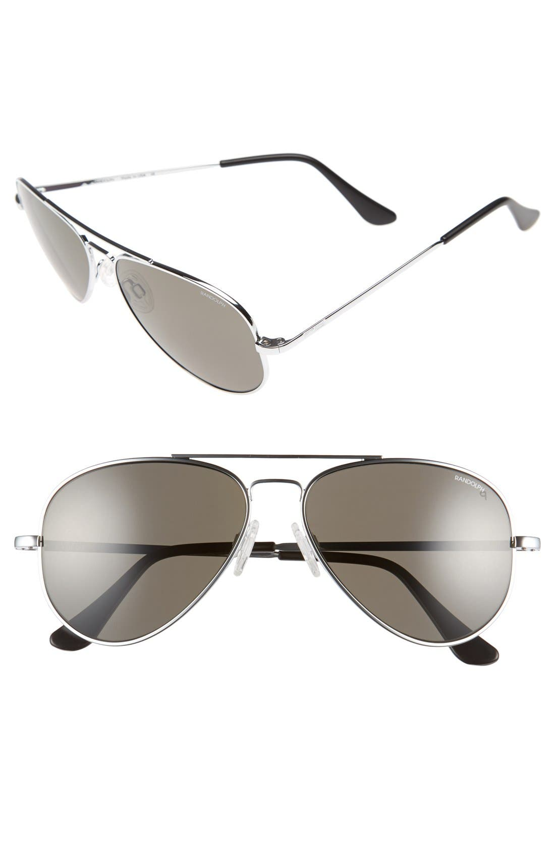 'Concorde' 57mm Polarized Sunglasses,                         Main,                         color, Chrome/ Grey Polarized