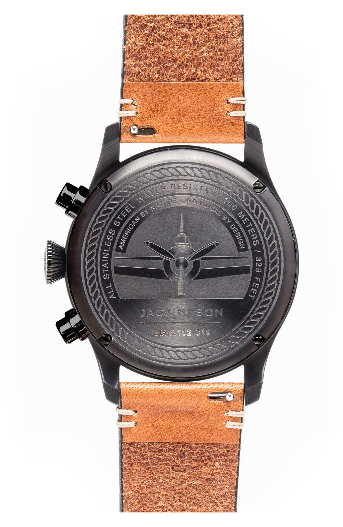 Alternate Image 2  - Jack Mason Chronograph Leather Strap Watch, 42mm