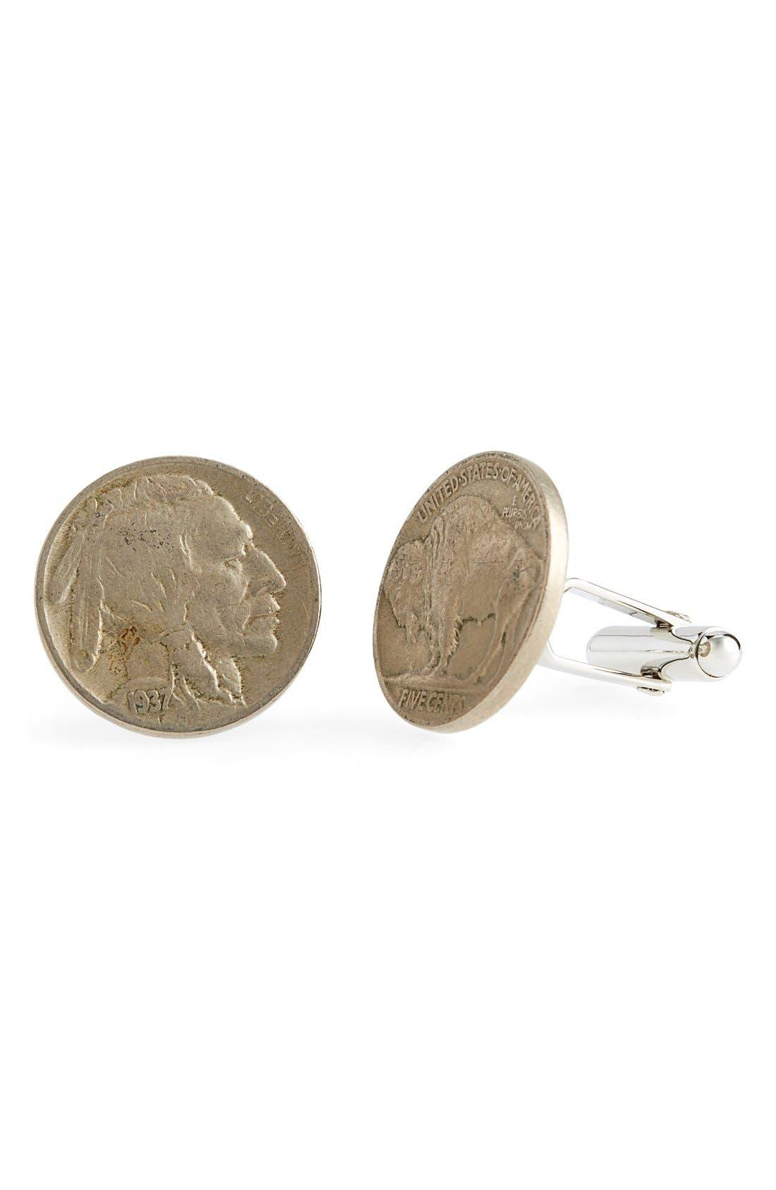 'Buffalo Nickel' Cuff Links,                         Main,                         color, Silver