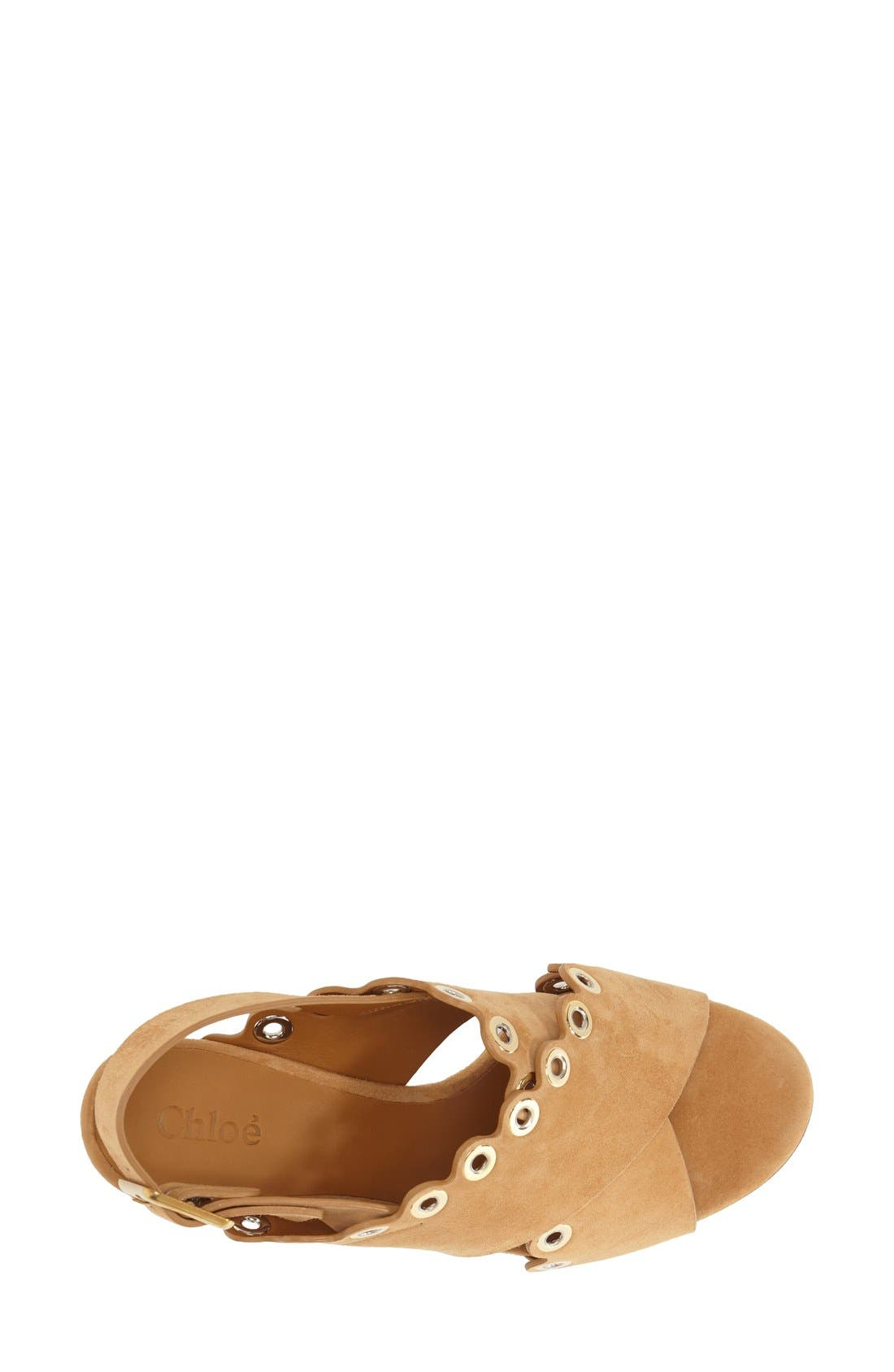 'Flo' Sandal,                             Alternate thumbnail 3, color,                             Beige Suede