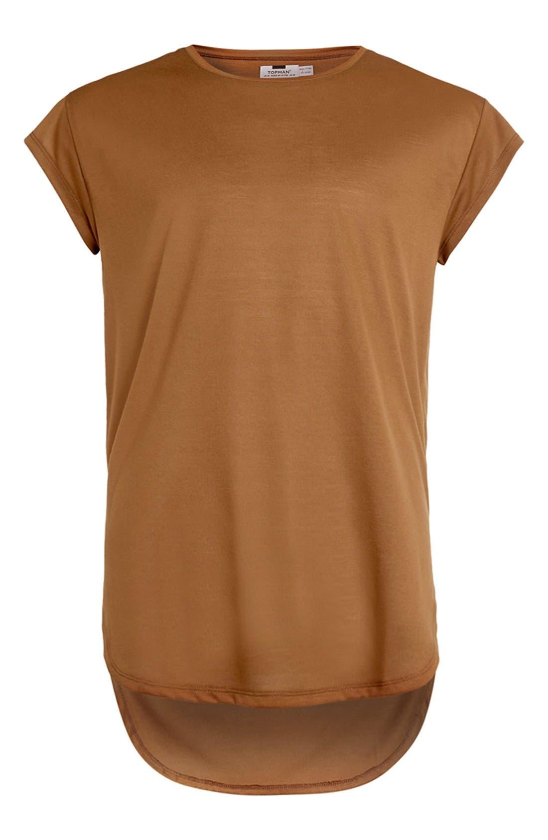 Longline Cap Sleeve T-Shirt,                             Alternate thumbnail 4, color,                             Mustard