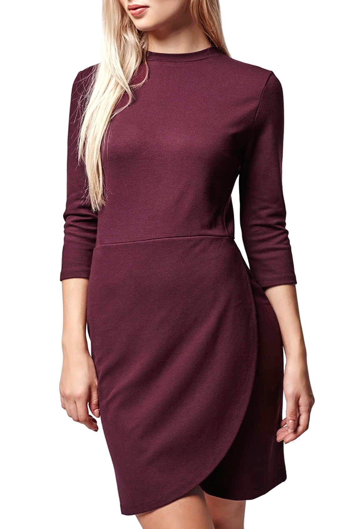 Alternate Image 1 Selected - Topshop Faux Wrap Body-Con Dress