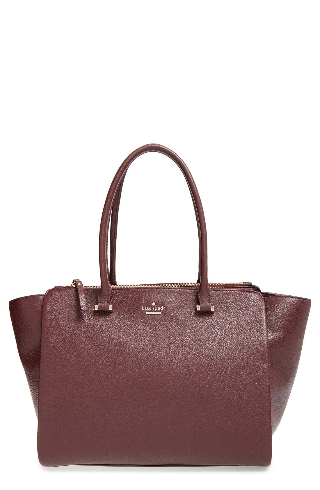 'emerson place - smooth holland' leather tote,                         Main,                         color, Mulled Wine