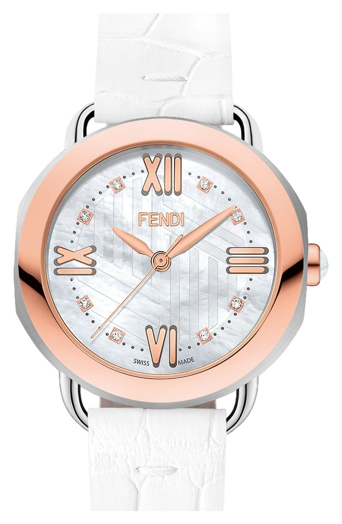 Alternate Image 1 Selected - Fendi 'Selleria' Leather Strap Watch, 36mm