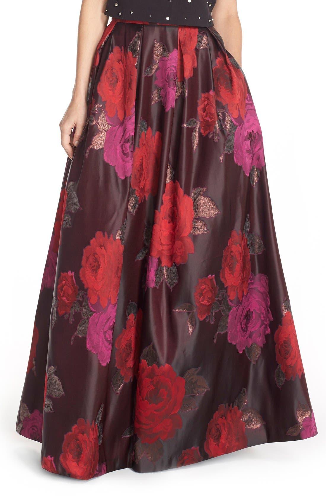 Main Image - Eliza J Floral Jacquard Ball Skirt