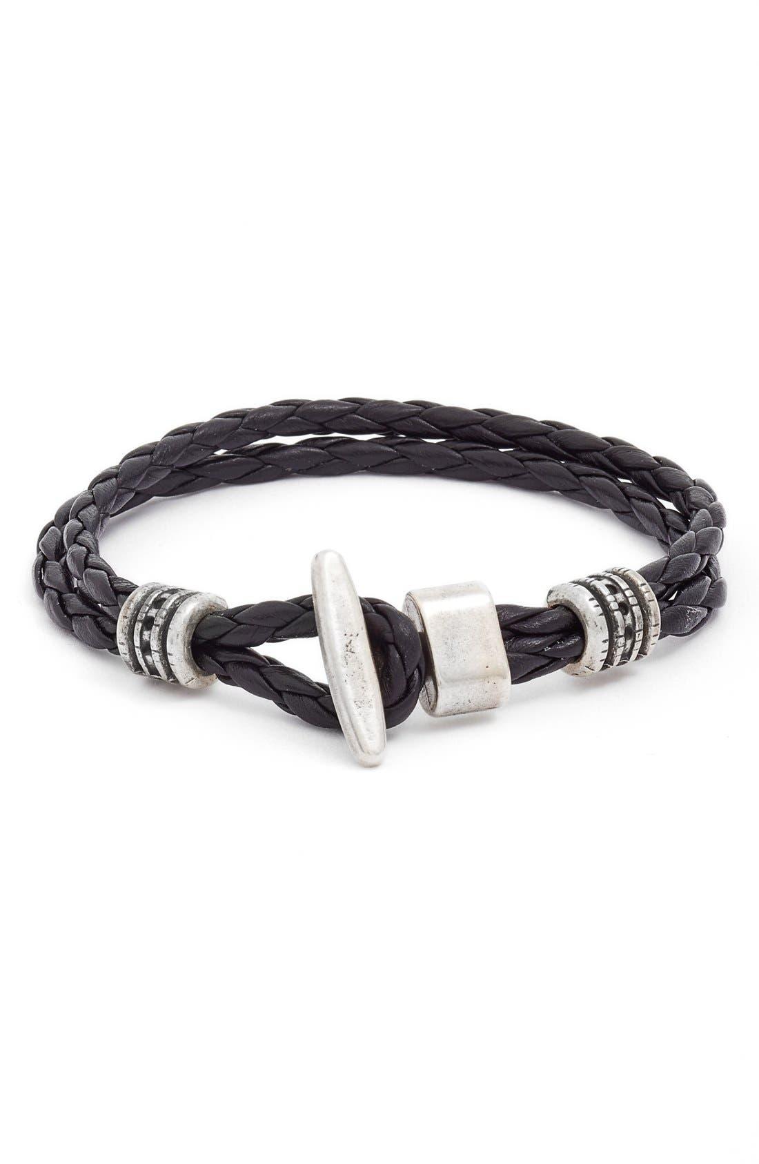 Main Image - Torino Belts Braided Leather Bracelet