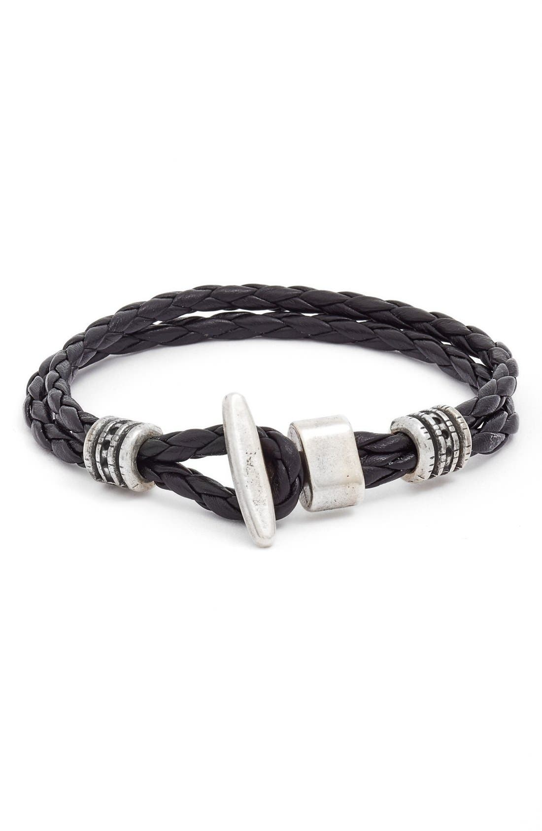 Braided Leather Bracelet,                         Main,                         color, Black