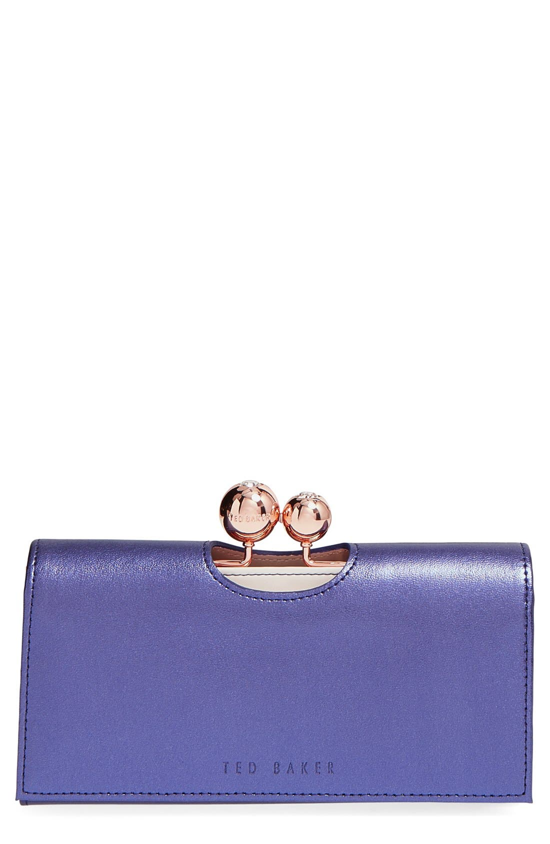 Main Image - Ted Baker London Metallic Leather Matinee Wallet