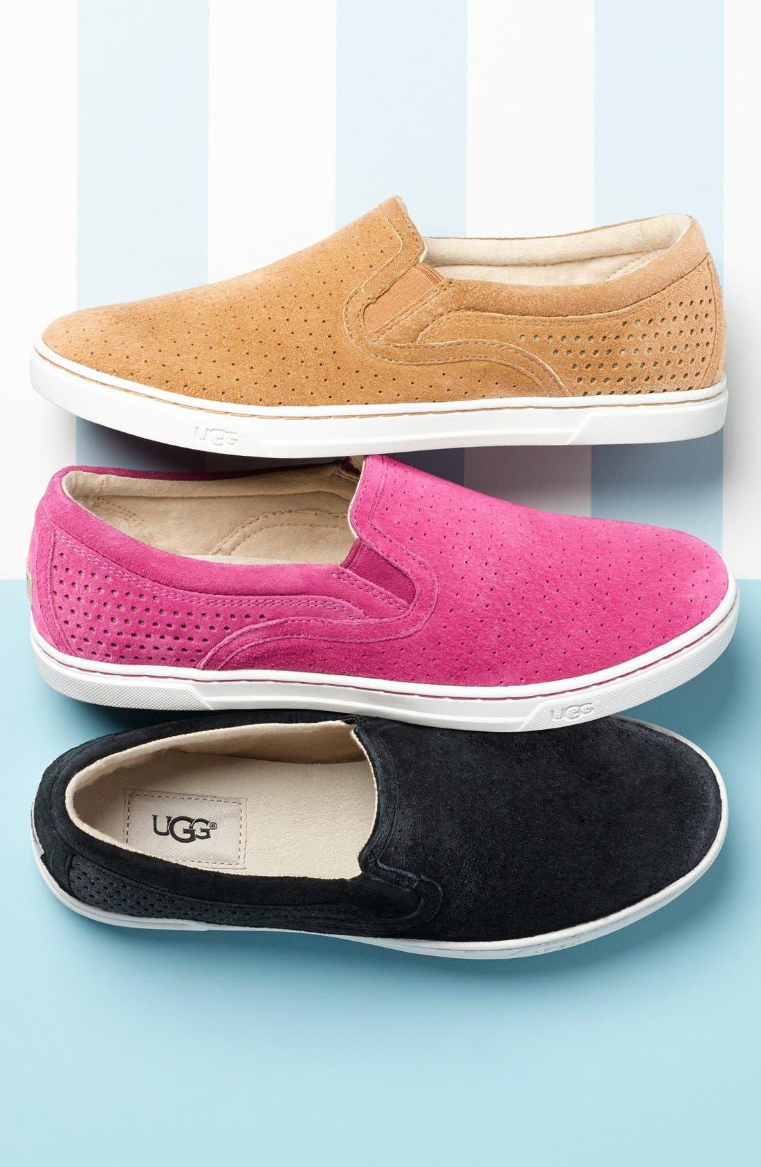 'Fierce Geo' Perforated Slip-On Sneaker,                             Alternate thumbnail 5, color,