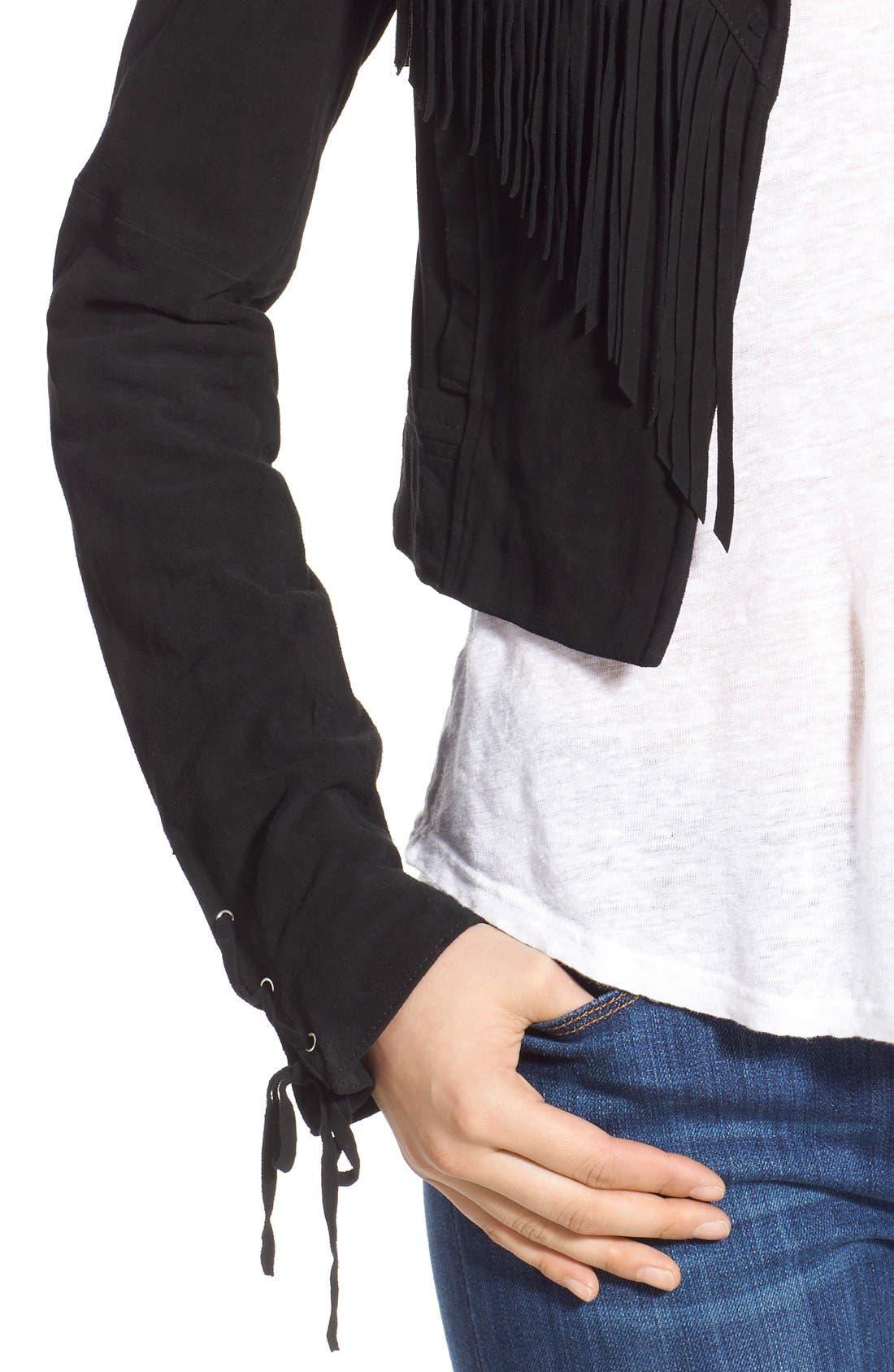 'Darlene' Suede Jacket,                             Alternate thumbnail 4, color,                             Black