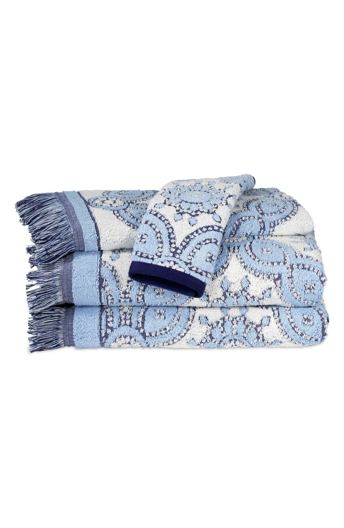 'Petra' Cotton Bath Towel,                             Main thumbnail 1, color,                             Light Indigo