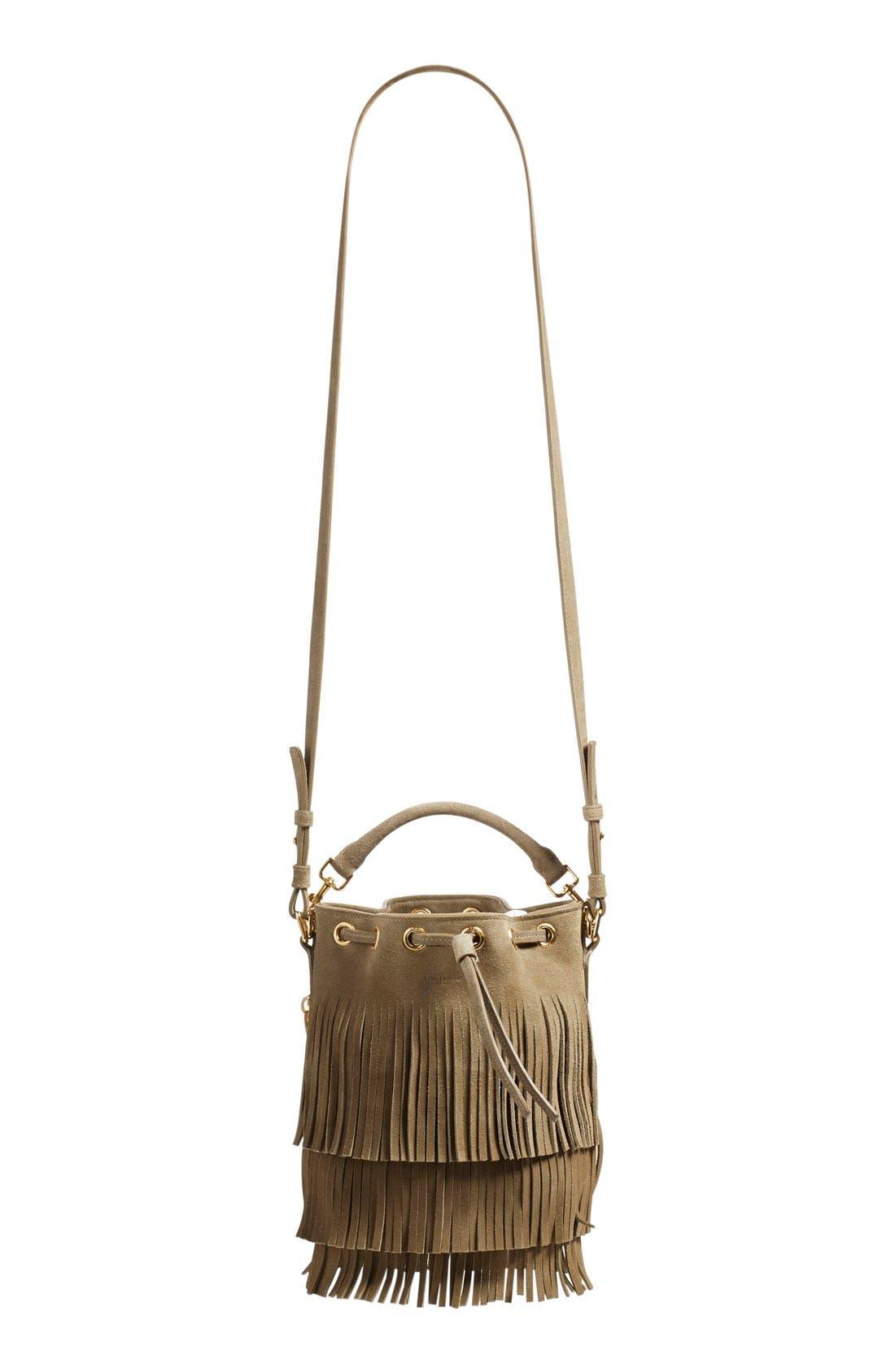 Main Image - Saint Laurent 'Emmanuelle' Suede Fringe Bucket Bag