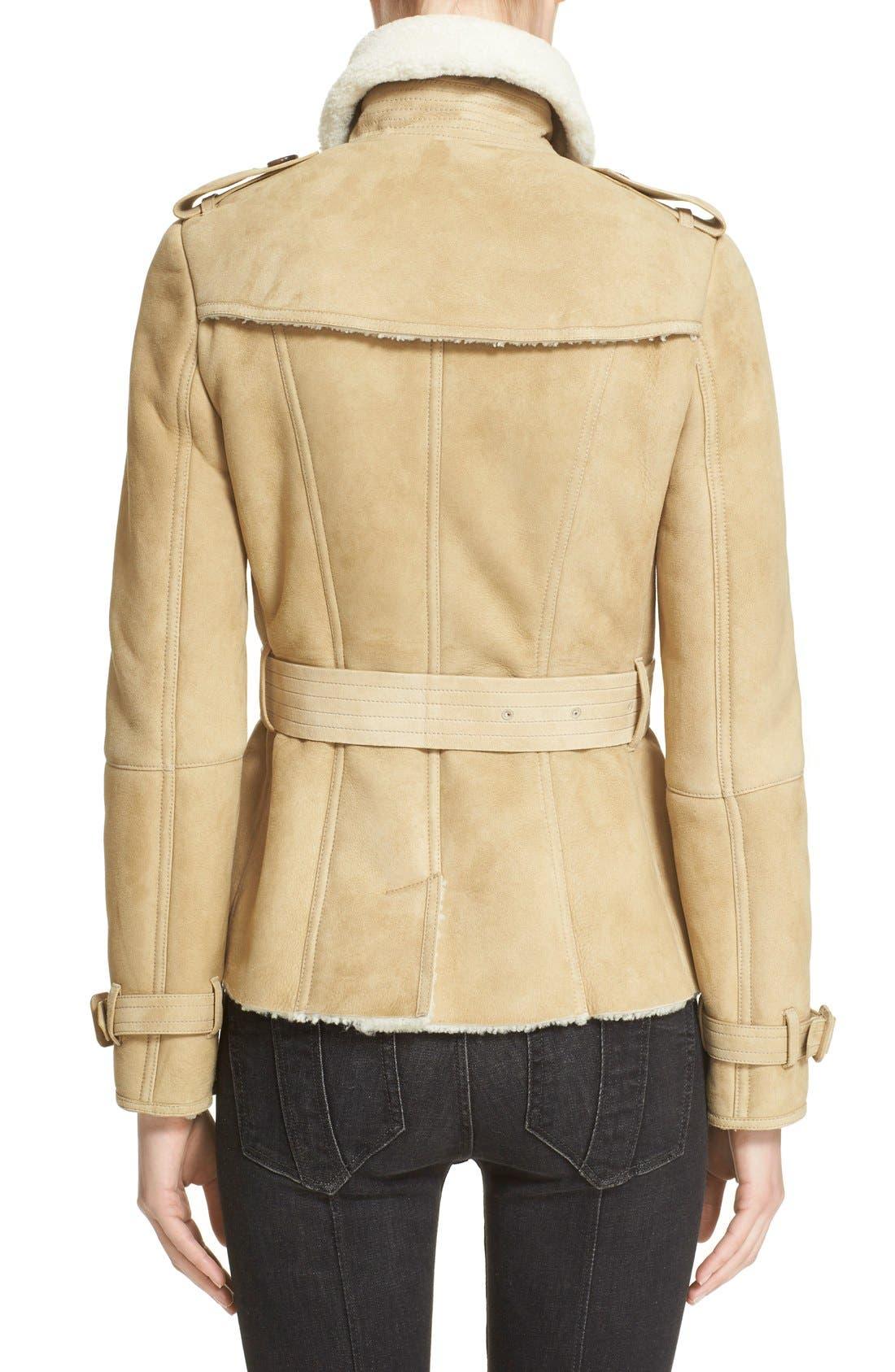 Alternate Image 2  - Burberry London 'Sandringham' Short Genuine Shearling Trench Coat