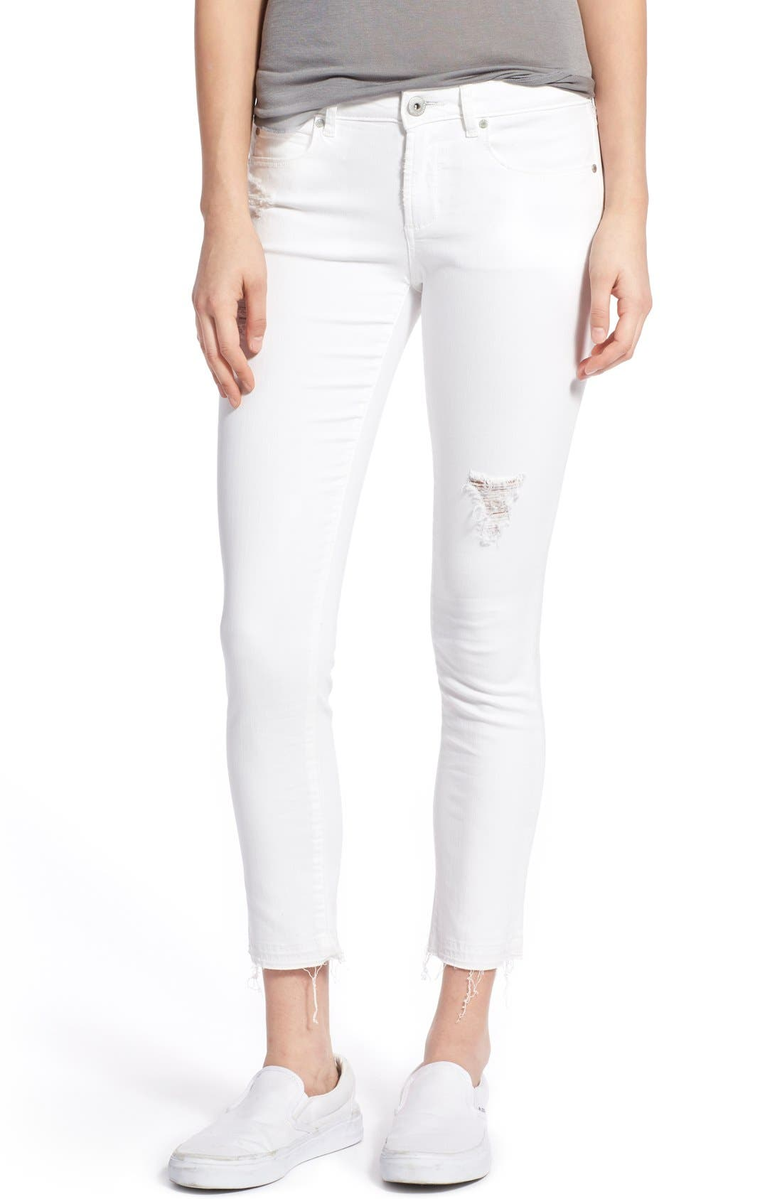 Main Image - Articles of Society 'Carly' Frayed Hem Crop Skinny Jeans (Worn White)