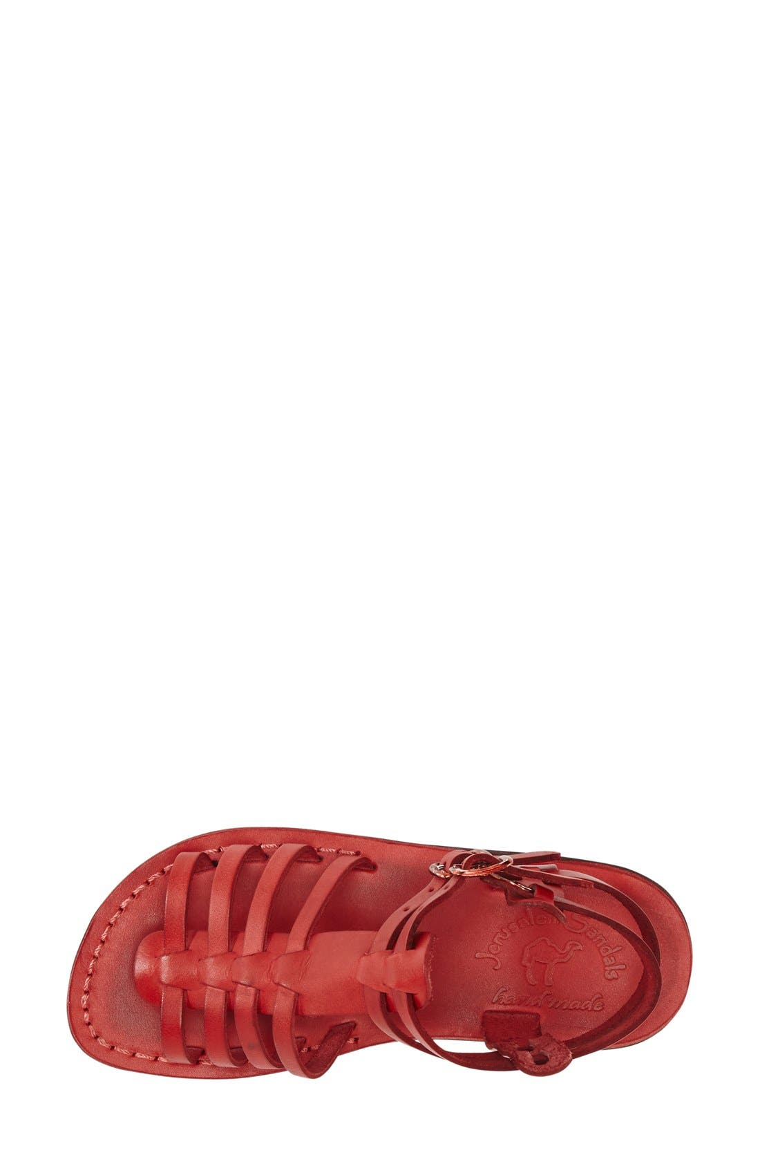 'Leah' Sandal,                             Alternate thumbnail 3, color,                             Red Leather