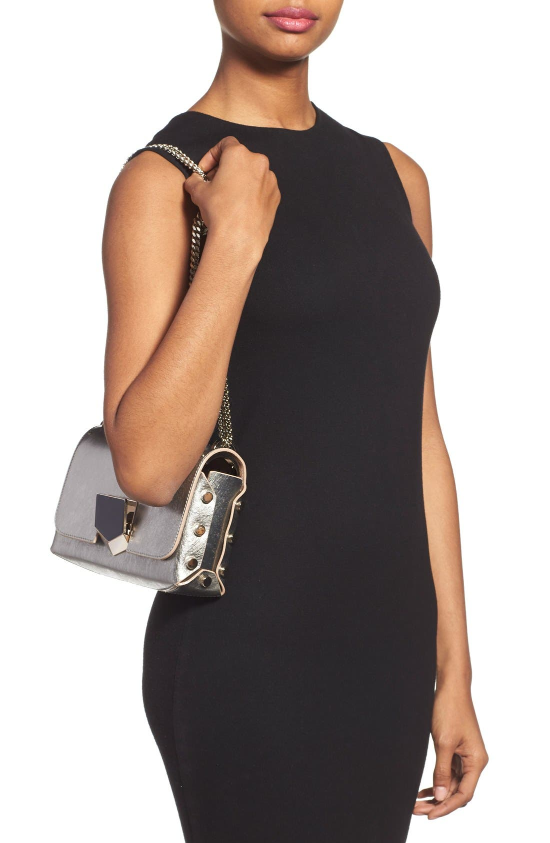 'Lockett Petite' Metallic Leather Shoulder Bag,                             Alternate thumbnail 2, color,                             Vintage Silver
