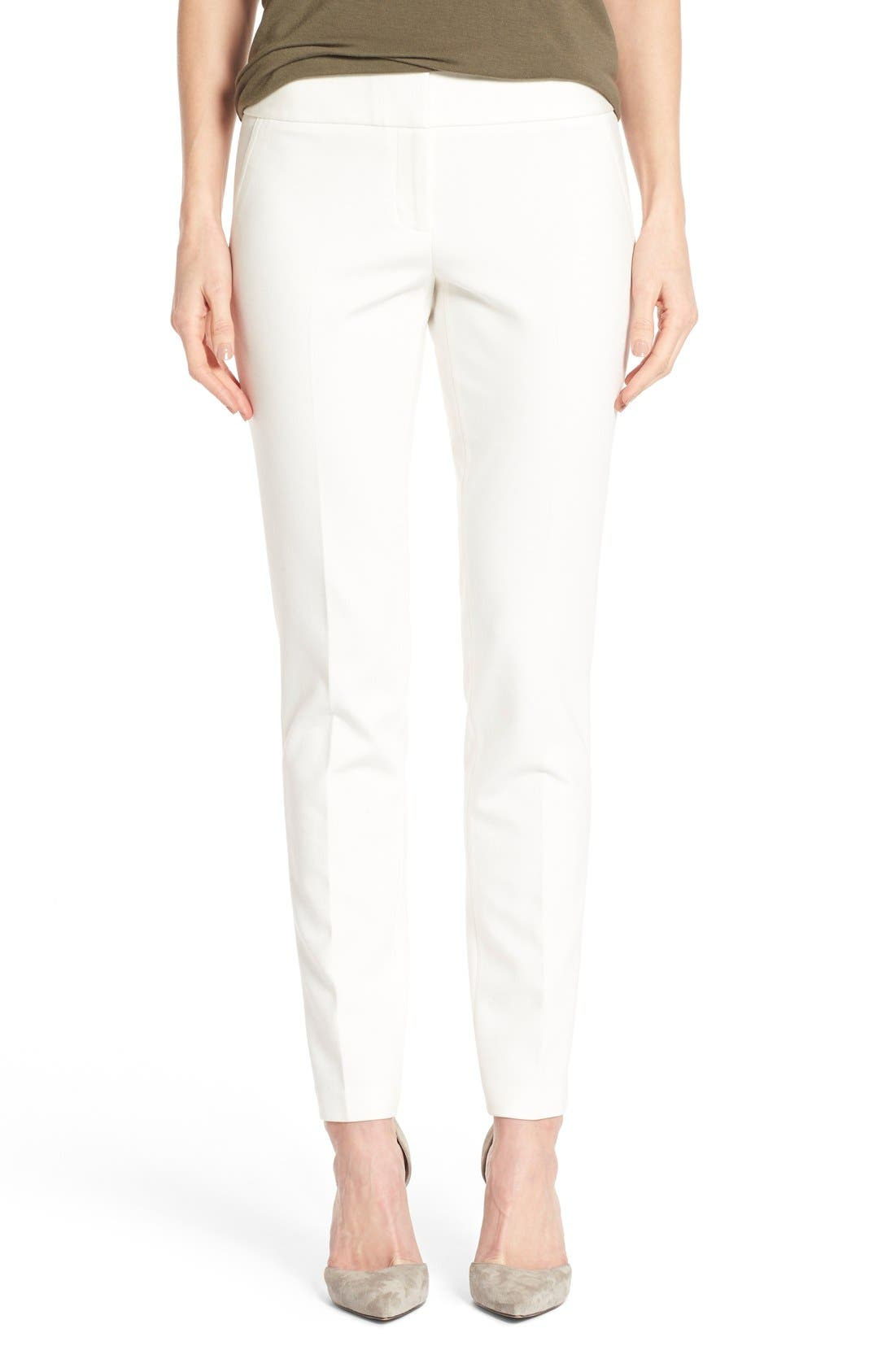 Ponte Ankle Pants,                         Main,                         color, Vanilla
