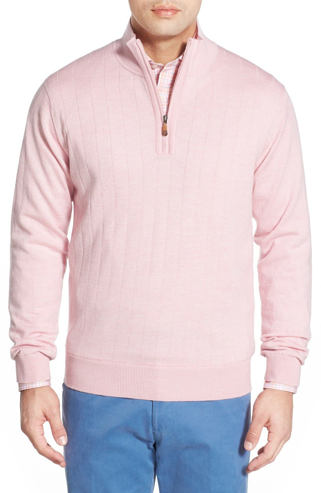 Windproof Merino Wool Quarter Zip Sweater,                             Main thumbnail 1, color,                             Pale Pink