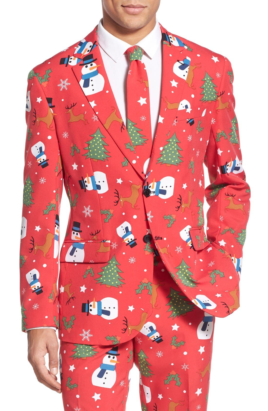 'Christmaster' Holiday Suit & Tie,                             Alternate thumbnail 4, color,                             Red