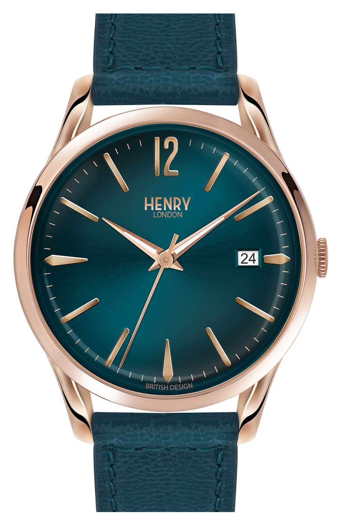'Stratford' Leather Strap Watch, 38mm,                         Main,                         color, Teal/ Teal