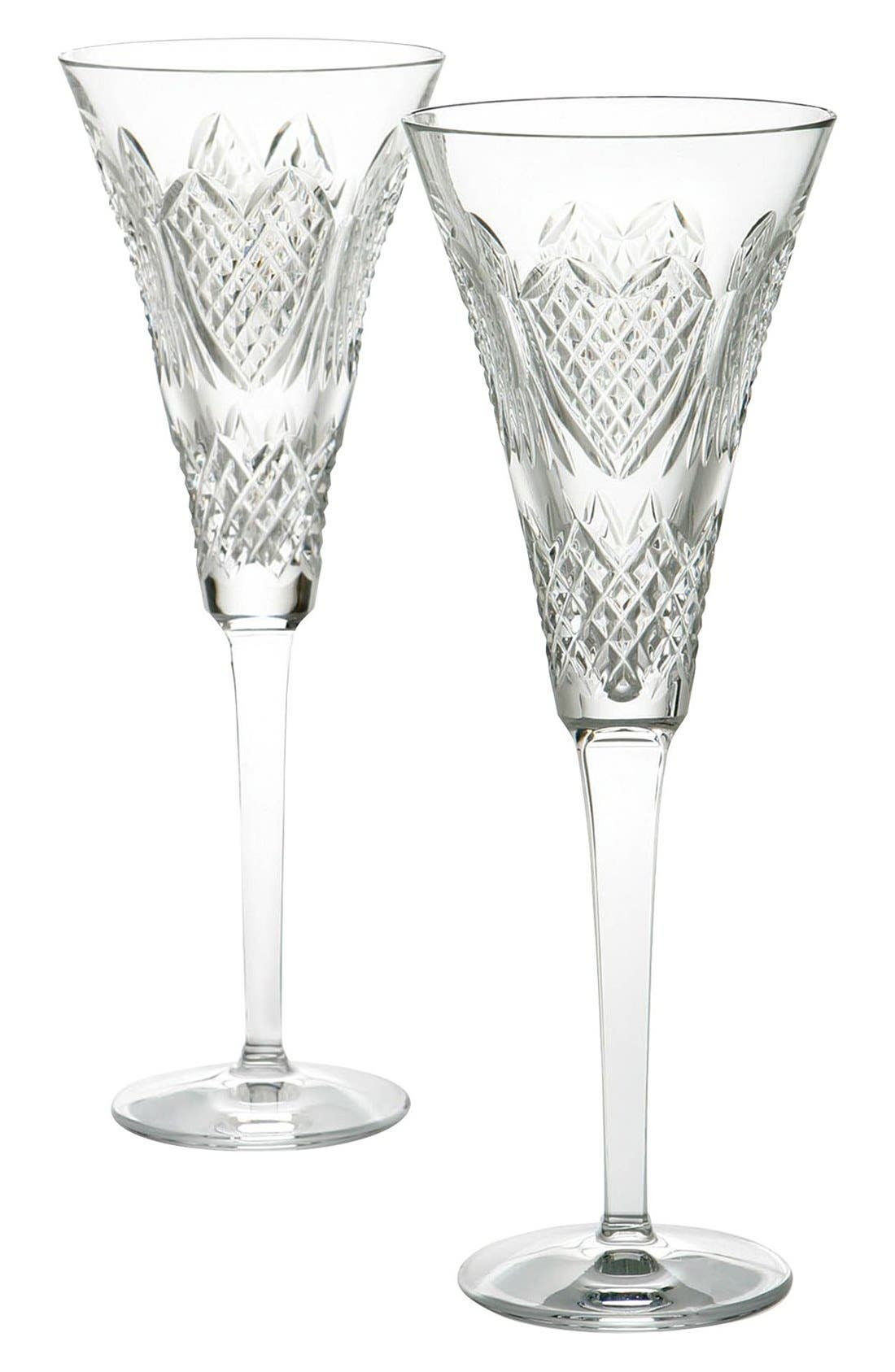 'Wedding Heirloom' Lead Crystal Champagne Flutes,                             Main thumbnail 1, color,                             Clear