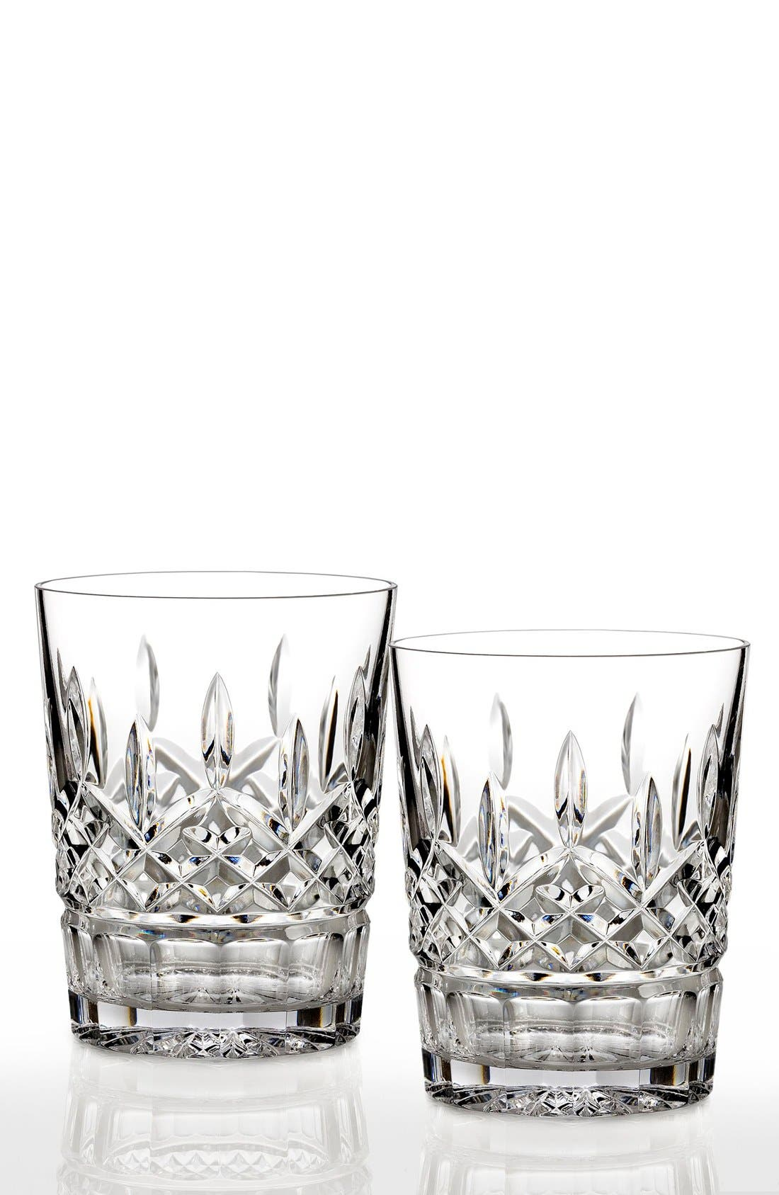 'Lismore' Lead Crystal Double Old Fashioned Glasses,                         Main,                         color, Clear