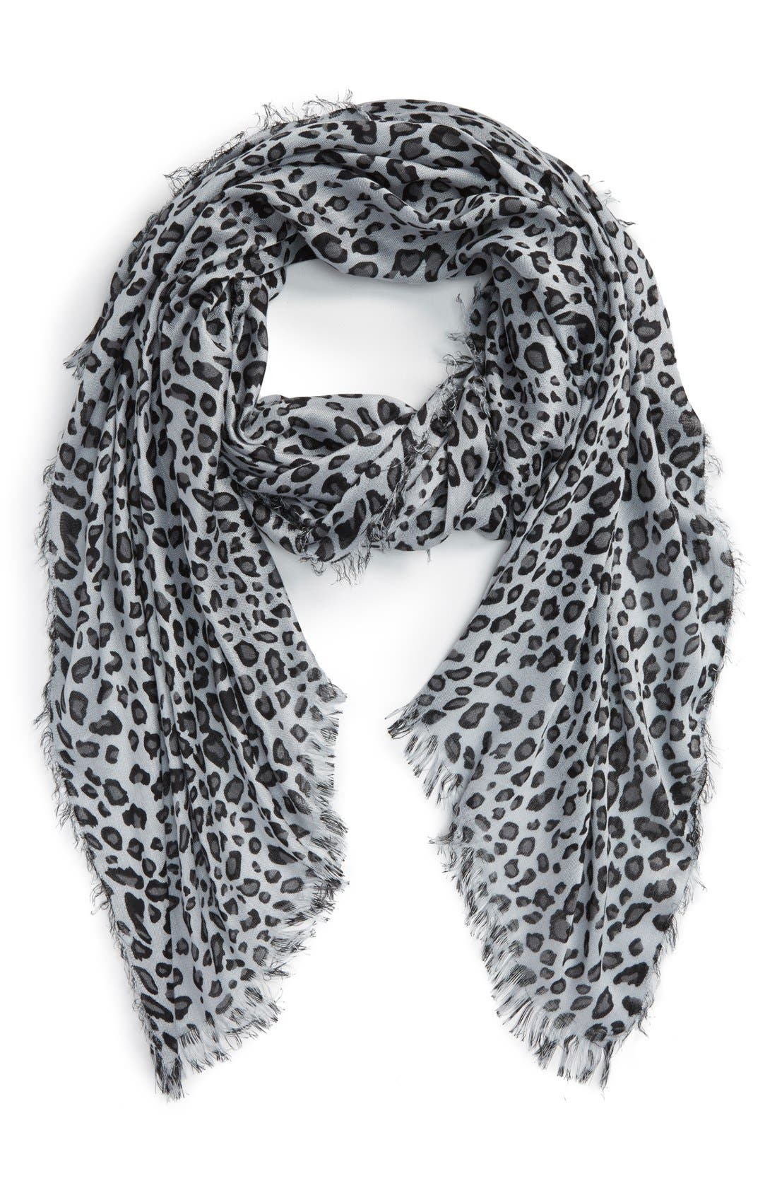 Leopard Print Scarf,                             Main thumbnail 1, color,                             Grey