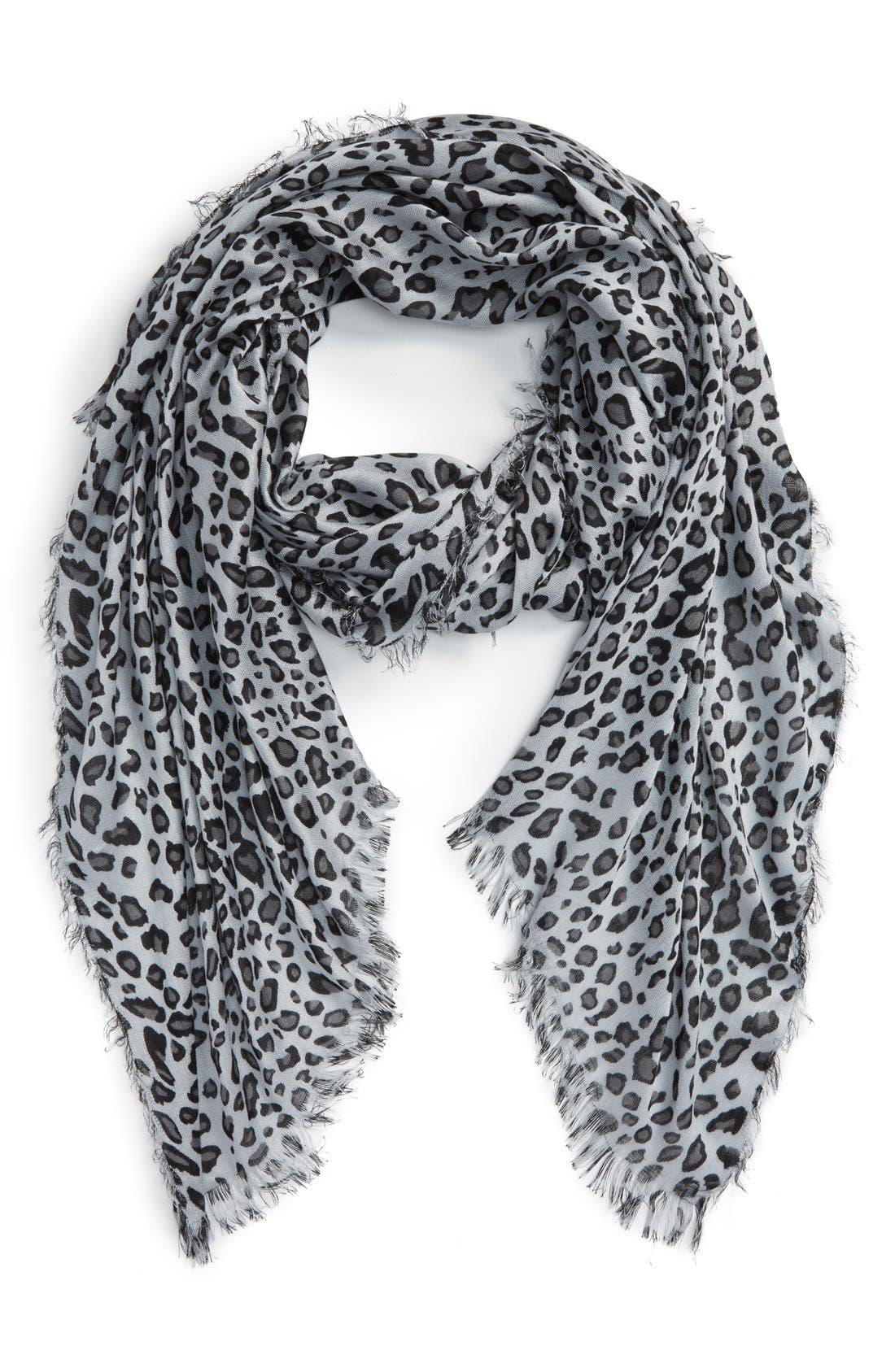 Leopard Print Scarf,                         Main,                         color, Grey